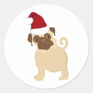 Santa Pug Classic Round Sticker