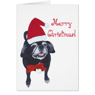 Santa Pug Dog Painting Merry Christmas Cards