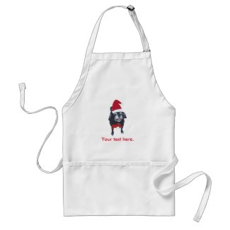 Santa Pug Dog Red Bow Your Text Christmas Aprons