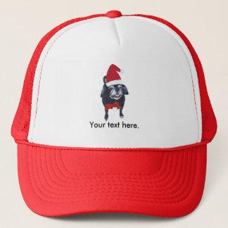 Santa Pug Dog Red Bow Your Text Christmas Hats