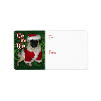 Santa Pug Gift Tag Personalized Address Label