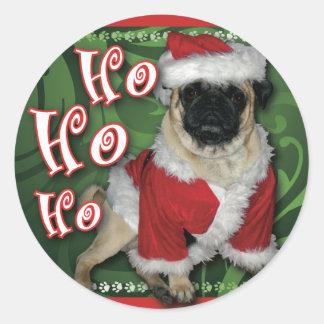 Santa Pug Round Sticker