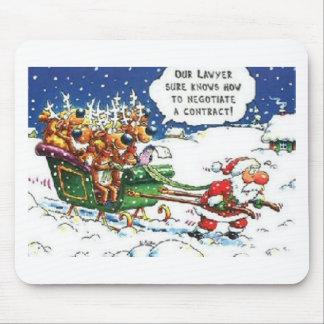 Santa Pulling Reindeer Mouse Pad