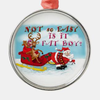 Santa pulling reindeer! round metal christmas ornament