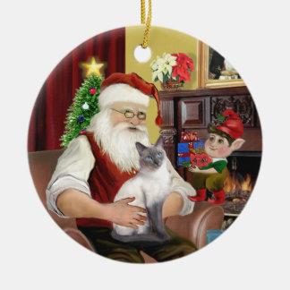 Santa - punto azul siamés ornamento de navidad