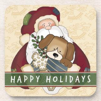 Santa Puppy Drink Coaster