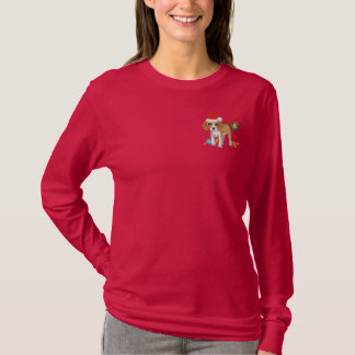 Santa Puppy Embroidered Long Sleeve T-Shirt