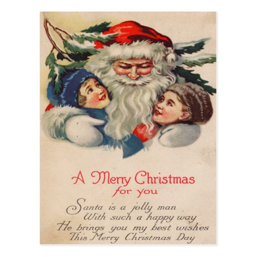 Santa que abraza a niños tarjeta postal