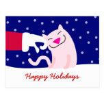 Santa que acaricia el gato lindo postal