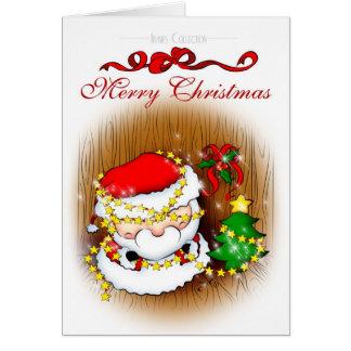 Santa que adorna la tarjeta