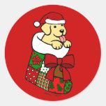 Santa que almacena el dibujo animado amarillo del pegatina redonda