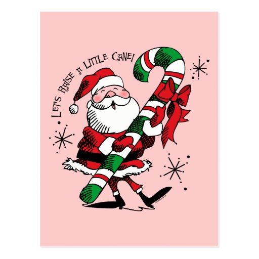 Santa que aumenta el bastón postal