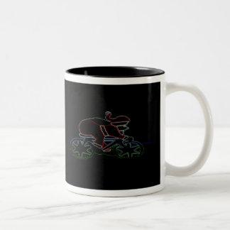 Santa que brilla intensamente agresivo taza de café de dos colores