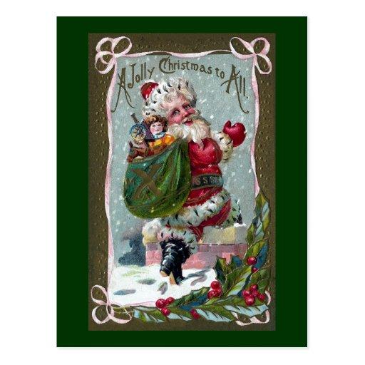 Santa que camina en la chimenea tarjetas postales