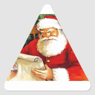 Santa que comprueba su lista pegatina triangular