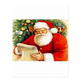 Santa que comprueba su lista postales