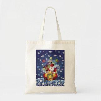 Santa que conduce con el reno en bolso del coche d bolsa de mano