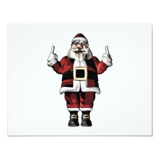 """Santa que da el dedo invitación 4.25"""" x 5.5"""""""