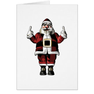 Santa que da el dedo tarjeta de felicitación