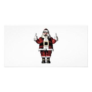 Santa que da el dedo tarjeta fotográfica personalizada