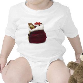 Santa que descarga presentes por el árbol traje de bebé