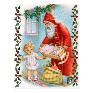 Santa que distribuye regalos de Navidad Postal