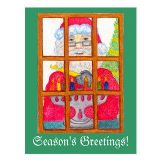 Santa que enciende la postal de Menorah