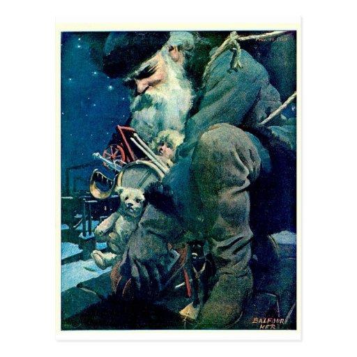 Santa que entrega los juguetes postal