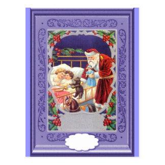 Santa que entrega los regalos a los niños postales