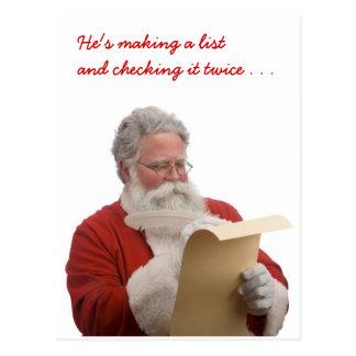 Santa que escribe la lista traviesa y Niza Postal