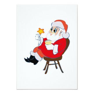 """Santa que goza de las galletas y de la leche invitación 5"""" x 7"""""""