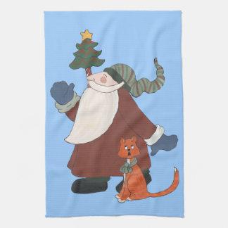 Santa que hace juegos malabares toallas de cocina