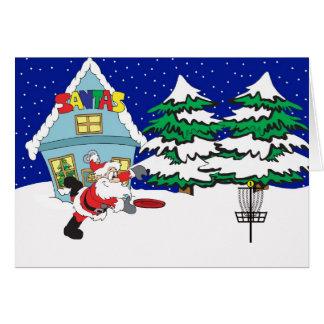 Santa que juega a golf del disco tarjeta de felicitación