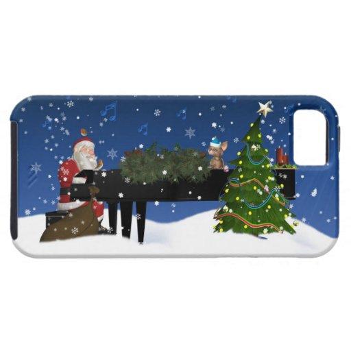 Santa que juega el caso del iPhone 5 del piano Funda Para iPhone 5 Tough