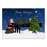 Santa que juega el piano con el árbol y la nieve tarjetas