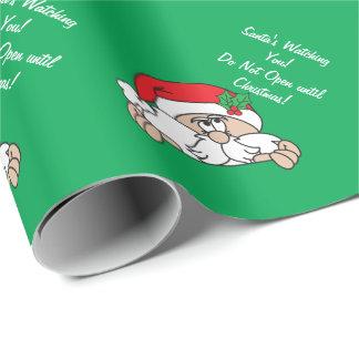 Santa que le mira navidad del | papel de regalo