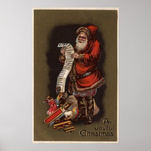 Santa que lee su buena lista de los niños poster