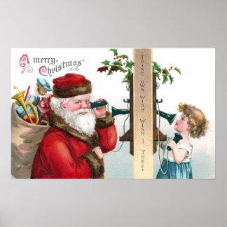Santa que llama del teléfono antiguo póster