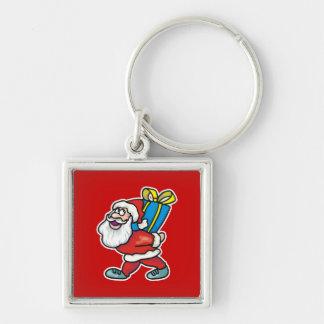 Santa que lleva el paquete grande llavero cuadrado plateado