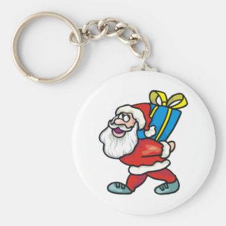 Santa que lleva el paquete grande llavero redondo tipo pin