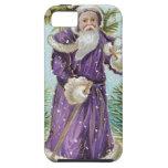 Santa que lleva un árbol de navidad iPhone 5 cárcasas