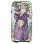 Santa que lleva un árbol de navidad funda de iPhone 6 tough