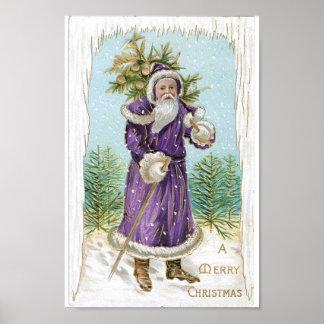 Santa que lleva un árbol de navidad póster