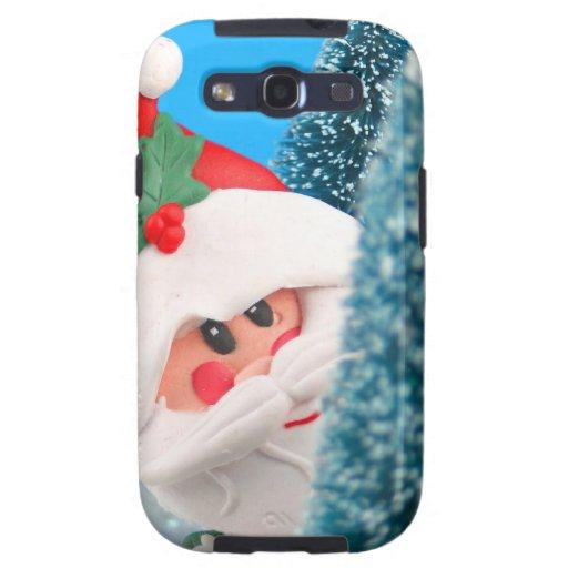 Santa que mira a escondidas de detrás un árbol de  galaxy s3 cárcasas