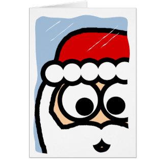 Santa que mira en ventana nevosa tarjeta de felicitación