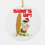 Santa que practica surf adornos de navidad