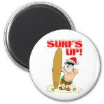 Santa que practica surf imanes de nevera