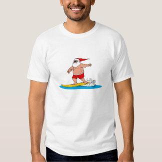 Santa que practica surf poleras