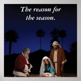Santa que se arrodilla en la natividad posters