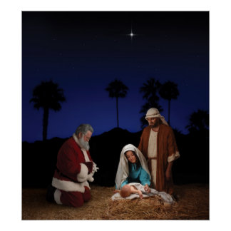 Santa que se arrodilla en la natividad impresiones